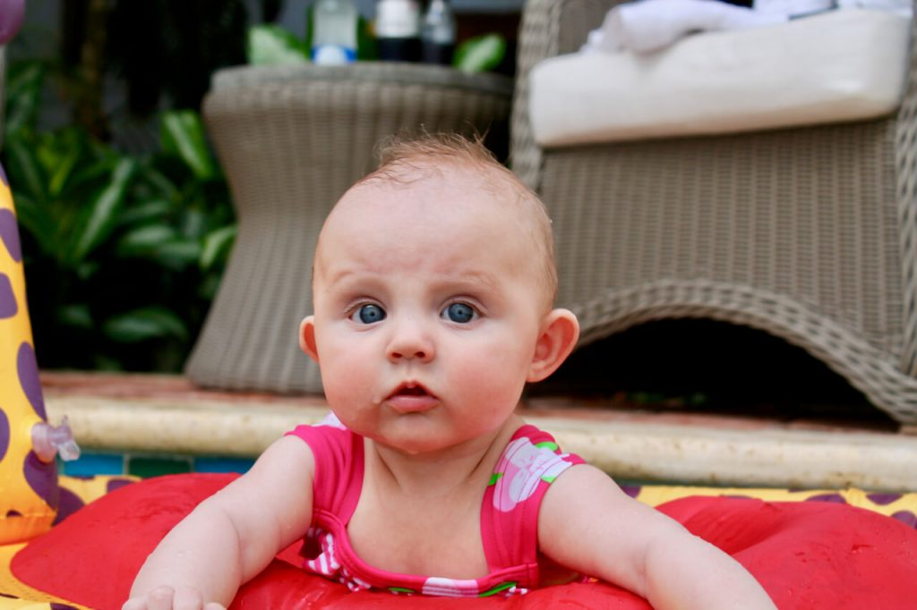 Close-up of a baby in a pool