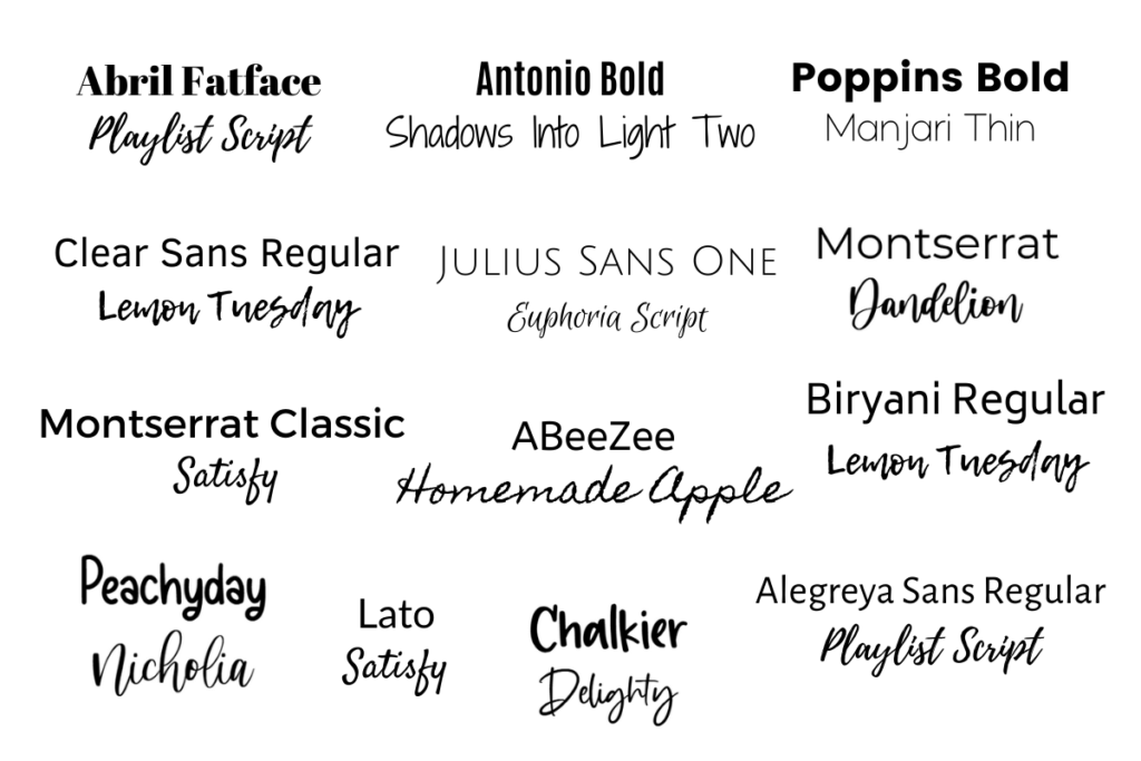 The 13 example best font pairings for Pinterest Pins mentioned in the post.