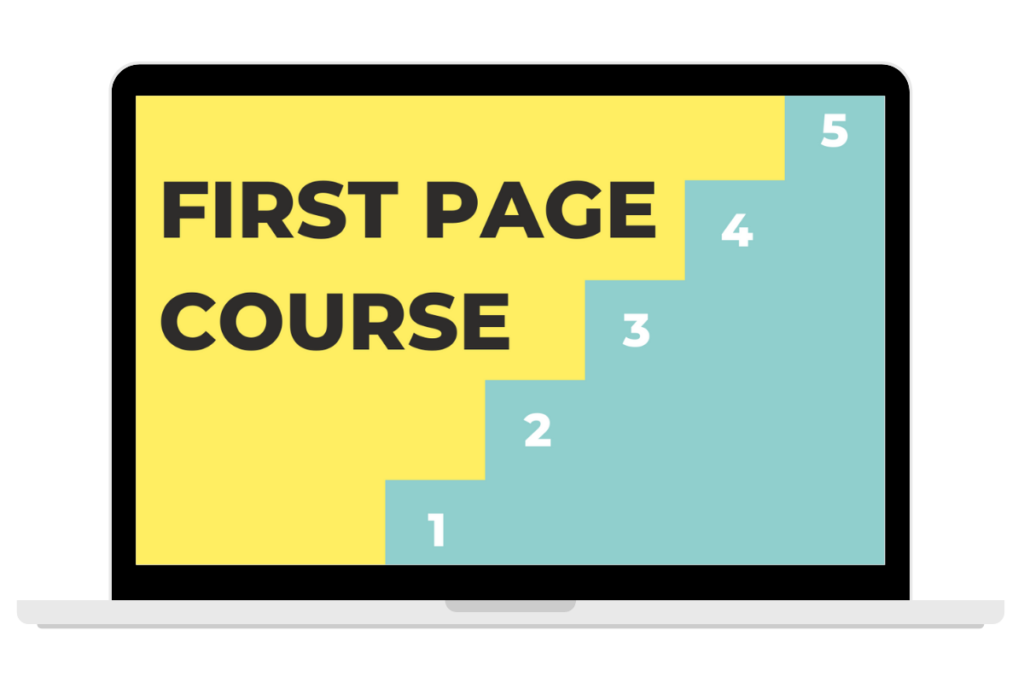 first page google course cover on computer