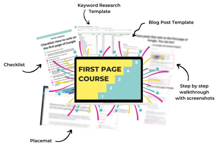 first page google course showing inclusions - checklist, keyword research template, blog post template, step by step walkthrough with screenshots and placemat